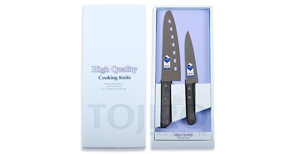 Набор из 2 ножей с тефлоновым покрытием: поварской и универсальный Tojiro FG-163