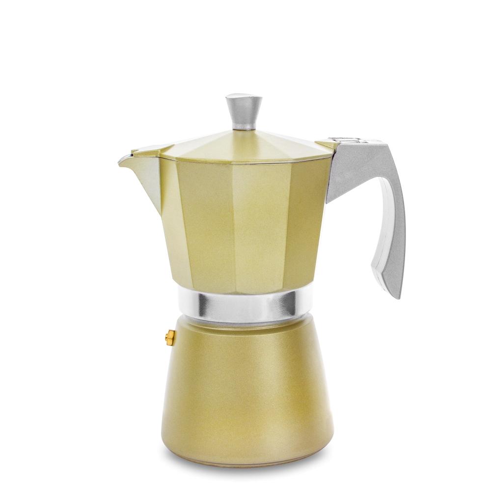 Кофеварка гейзерная на 6 чашек для всех типов плит IBILI Evva 623906, цвет золотой