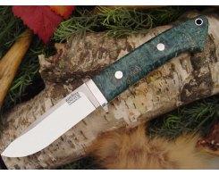 Нож туристический Bark River Drop Point Hunter Teal Green Elder Burl