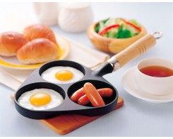 Чугунная сковорода для 3-х яичниц, IWACHU 24018, 9,5 см, индукция
