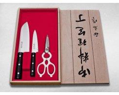 Набор кухонный из двух ножей и ножниц в подарочной деревянной коробке Masahiro 11534W