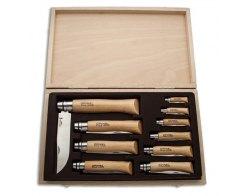 Набор Opinel в деревянной коробке с крышкой 10 ножей, нержавеющая сталь, бук