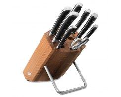 Набор ножей 6 штук с мусатом и ножницами на деревянной подставке Wuesthof Classic Ikon 9882 WUS