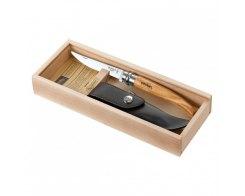 Складной филейный нож Opinel №10, нержавеющая сталь, оливковое дерево, чехол, деревянный футляр, 100 мм.