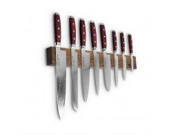 Набор из 8-ми кухонных ножей на магнитном держателе из дуба Yaxell GOU 161 YA/SGOU-KS010SOB